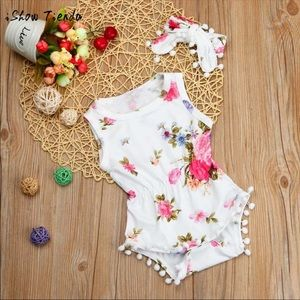 Other - White Floral Bodysuit & Headband